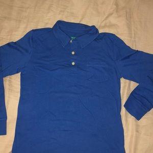 Boys' long-sleeve slub cotton polo shirt